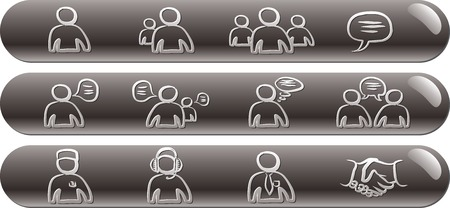 Avatars & Chat 1 silver glossy bars icons set Illustration