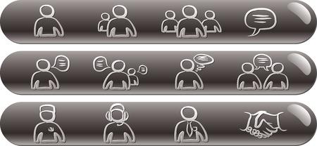 comunity: Avatars & Chat 1 silver glossy bars icons set Illustration