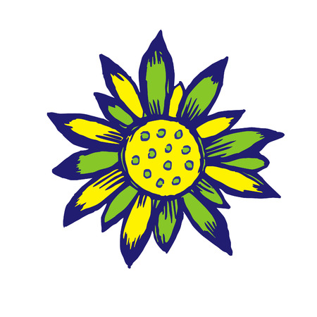 coloured flower in green, yellow and azur Vector