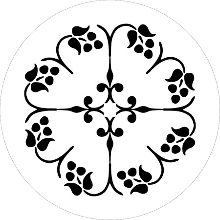 round decorative floral vector black and white Stock Vector - 1665461