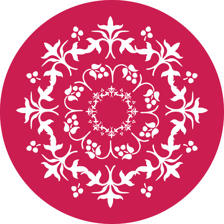 decorative flower in red circle Stock Vector - 1665479