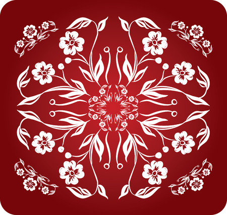 floral decoration rectangle red negativ Vector
