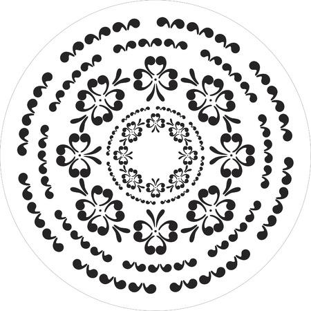 corazones elementos florales en blanco y negro  Foto de archivo - 1665473