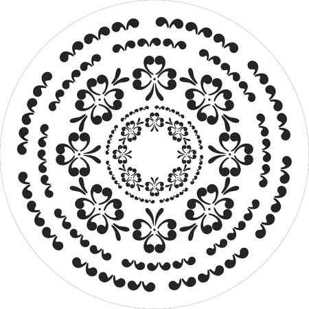 floral hearts elements black and white Vector