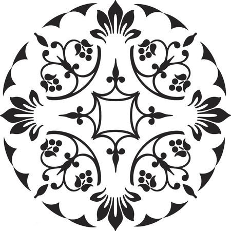 ornament floral decoration black and white Stock Vector - 1665477