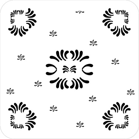 rectangular ornaments of petal flower black and white Stock Vector - 1665466