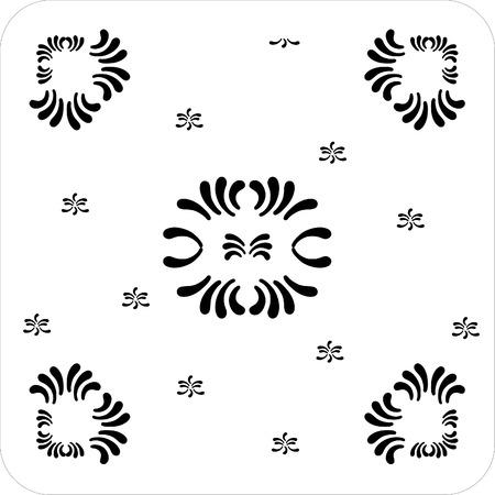 rectangular ornaments of petal flower black and white Stock Vector - 1665466