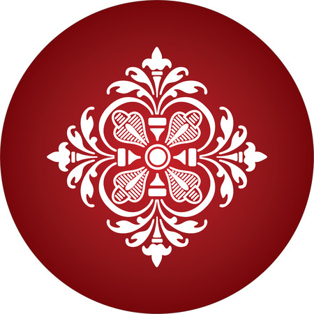 round red ornament abstract flower Stock Vector - 1665469