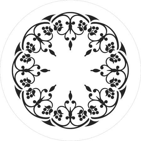 black and white round ornament flower Stock Vector - 1675251