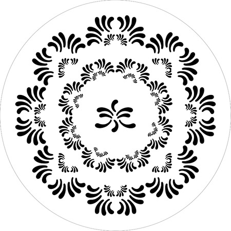 round ornaments of petal flower black and white Vector