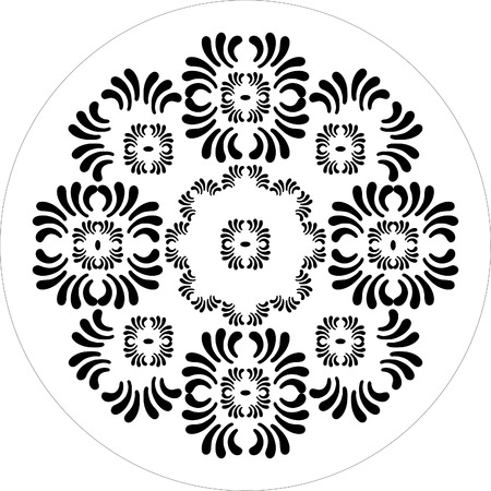 round ornaments of petal flower black and white Stock Vector - 1675252