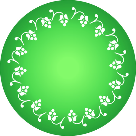 round decorative floral vector with green background Stock Vector - 1675239