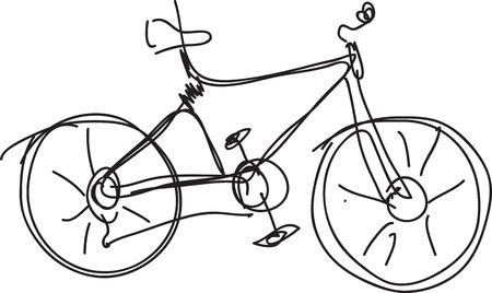 stationary bike: Bicycle sketch isolated on white. Illustration