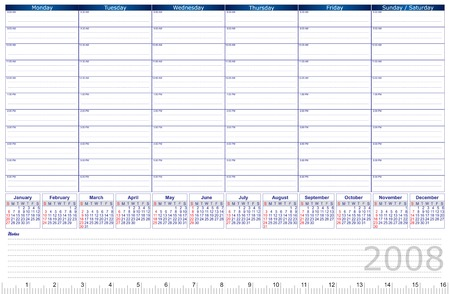 2008 vector planner with calendar and space to write - just add your logo Illustration