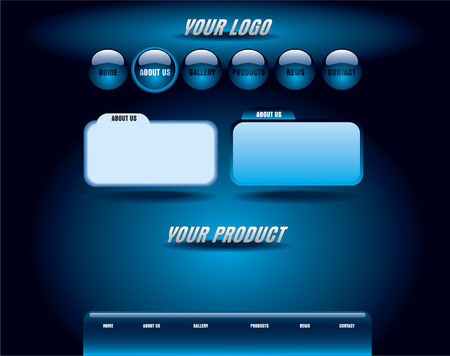 Website blue glossy template Vector