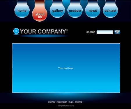 Website black blue template Vector