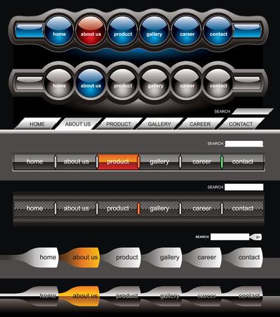 Black menu buttons navigation template