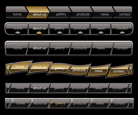 Black menu buttons navigation template Vector