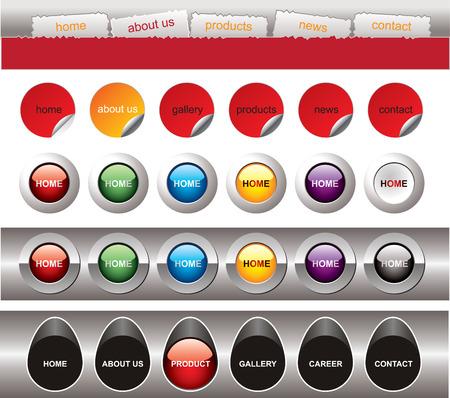 Website button bars set template Vector