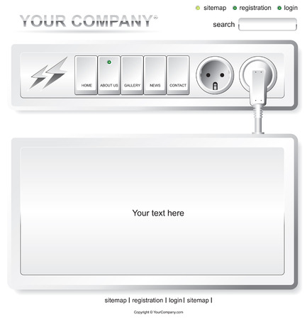 Website white electric layout template Vector
