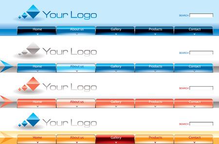 Website glossy Vista button bars template