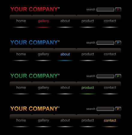 Website black buttons bars set template Vector