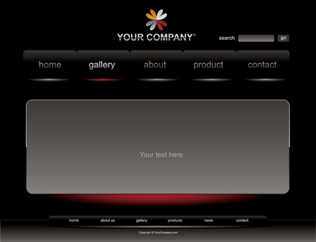 Website black glossy template Vector