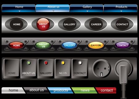 rollover: Website button bars set template Illustration
