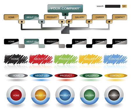 White menu buttons navigation template Vector