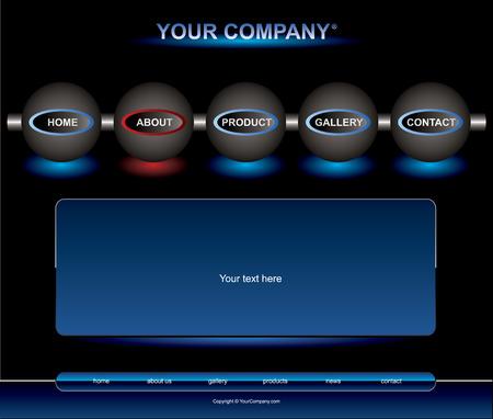 Website blue button bars set template Illustration