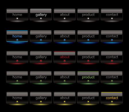 Website black button bars set template Vector