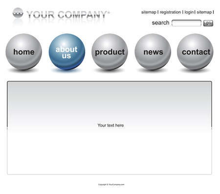 Website blue sphere buttons emplate Stock Vector - 3538322