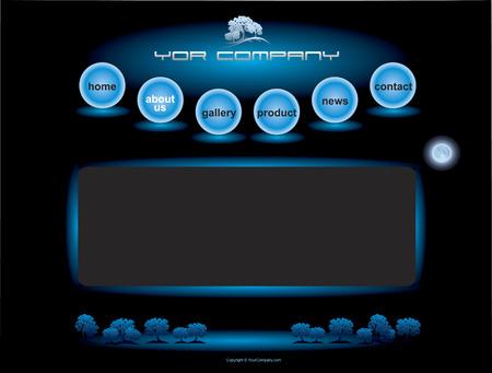web header: Sitio Web bot�n azul de las esferas establecidas bares plantilla