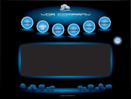 Website blue spheres button bars set template Vector