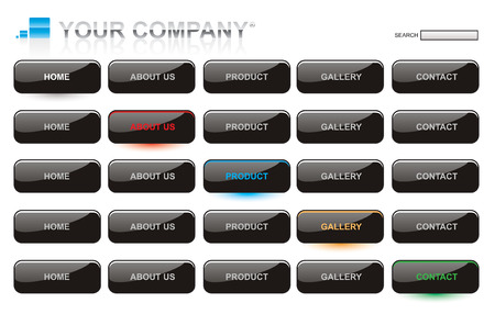 rollover: Website black glossy style button bars set template
