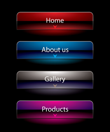 vista: Website black vista style buttons set template Illustration