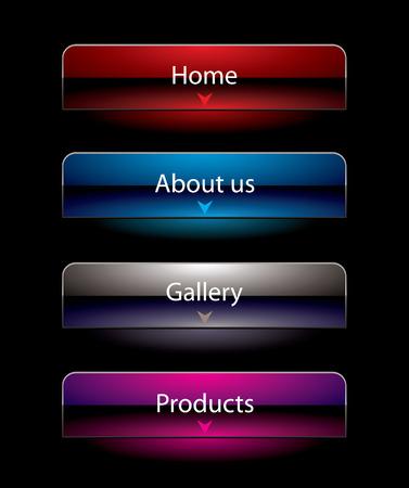 hightech: Website black vista style buttons set template Illustration