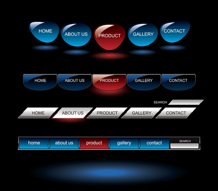 Editable Glossy website buttons template