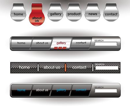 Metallic editable website buttons 2 on white Illustration