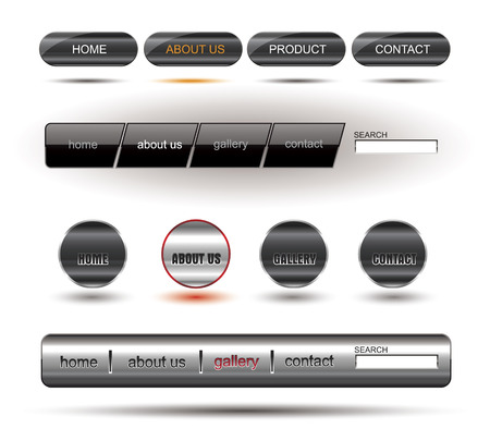 rollover: Metallic editable website buttons