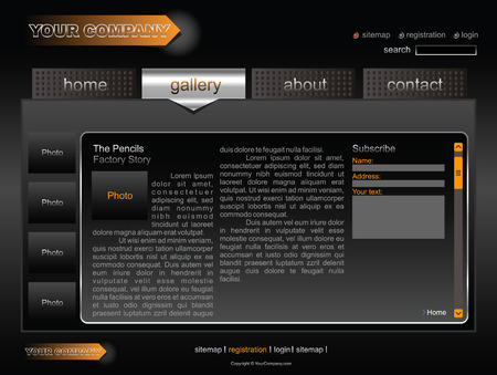 Black with orange fiull editable website template