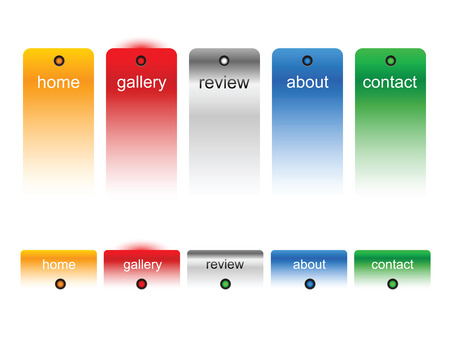 Editable website buttons on white Vector