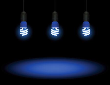 outlets: Energy saving fluorescent light bulb - editable vector
