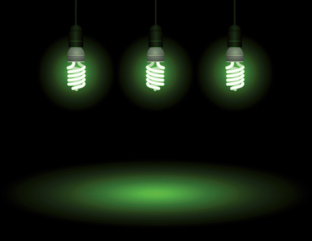Energy saving fluorescent light bulb - editable vector Vector