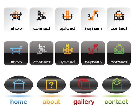 Editable website vector buttons Vector