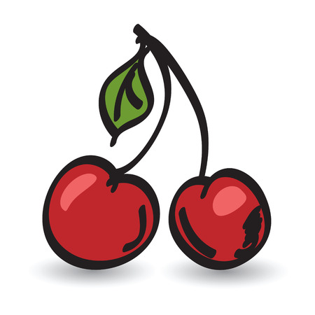 fruit stem: Red cherries editable vector