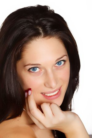 Portrait of a smiling young woman with black hair Stock Photo - 5061493