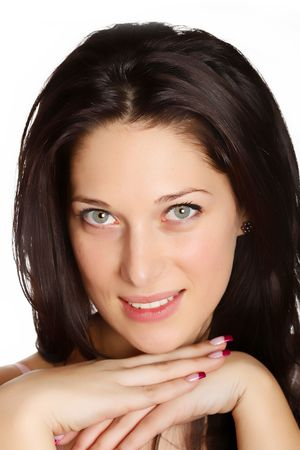Portrait of a smiling young woman with black hair Stock Photo - 5061487