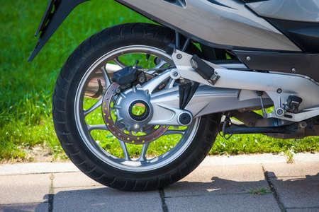 rear views: Motorbike rear wheel mechanism