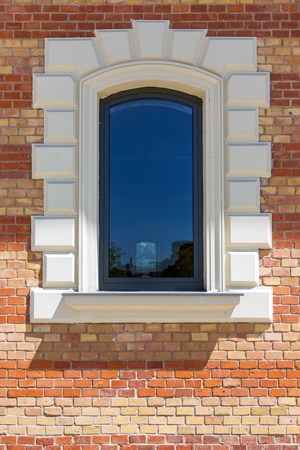 briks: Window in a red brick wall Stock Photo